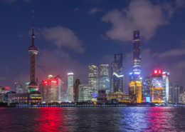 Skyline of Shanghai Pudong at sunset China