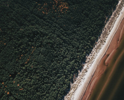 Bird's-eye view. Aerial view of beach ( carbono )